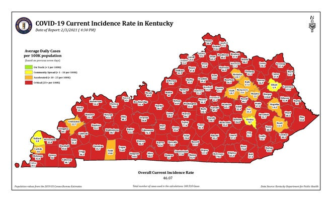 The COVID-19 current incidence rate map for Kentucky as of Wednesday, Feb. 3.