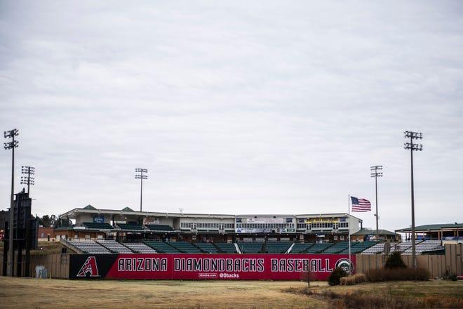 The Ballpark at Jackson, seen from I-40 on Thursday, Feb 4, 2021 in Jackson, Tenn.