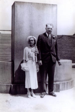 "Florus (Aigner) and Donald Johnson on the day of their wedding, June 24, 1935, at Mitchell Park in Milwaukee. Their romance has been fictionalized in a book titled ""Darling, All My Love,"" written by their granddaughter, Lori Oestreich."