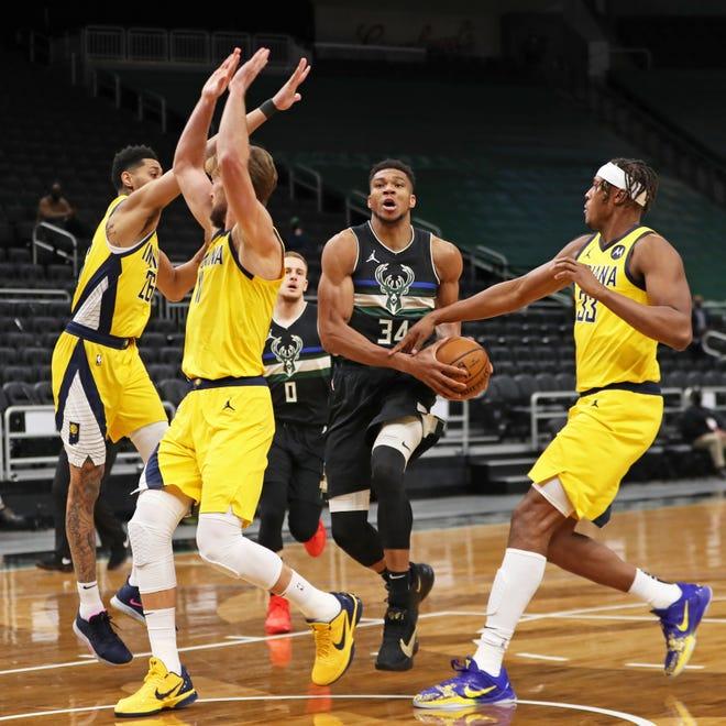 Bucks 130, Pacers 110: Giannis Antetokounmpo records triple-double