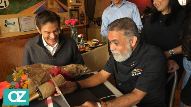 """Mickey Chopra, owner of I2I Indian Italian Fusion and Vinnie's Pizzeria in Boonton, gets a surprise visit from Dr. Oz to tape a """"Restaurant Rescue"""" segment of """"The Dr. Oz Show,"""" airing Friday, Feb. 5, 2021."""