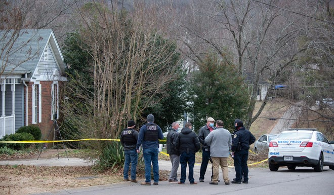 Metro police investigate the death of a 15-year-old that was shot outside his home at 1505 Pointer Court Thursday, Feb. 4, 2021 in Nashville, Tenn.