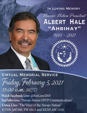 The Navajo Nation Office of the President and Vice President released details on Feb. 4 about a virtual memorial service for former President Albert Hale.
