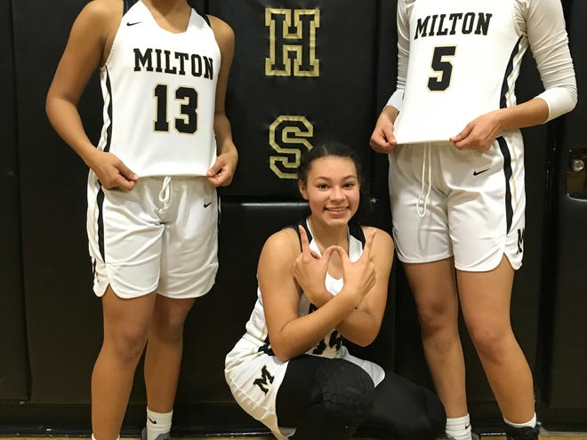Milton Panthers (from L to R) Laila Manning, Jada Savage and Camille Germann are key leaders for the Panthers, who host Navarre Friday at 7 p.m. in the District 1-6A Championship.