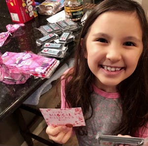 Nine-year-old Anna Swingler got her valentines for her classmates done early so they could be quarantined for 10 days before being distributed to her classmates who are learning remotely.