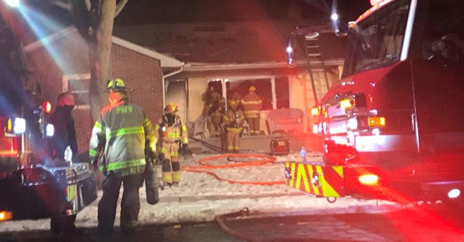 Rescue crews respond to a house fire in the 1500 block of Connecticut in Marysville Wednesday night.