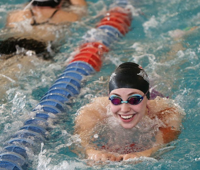 San Angelo Central High School junior Katelyn Mygrants goes through workouts at the Gus Clemens Aquatic Center on Wednesday, Feb. 3, 2021. She's competing in the regional meet this weekend in Mansfield.