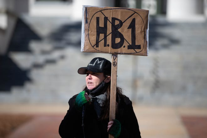 """Local concerned citizen Margaret Moore speaks during a protest against HB1/SB484, a """"combating public disorder"""" bill, at the Florida Historic Capitol Thursday, Feb. 4, 2021."""