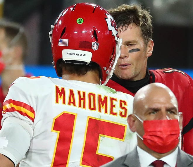 Kansas City's Patrick Mahomes is congratulated by Tampa Bay's Tom Brady after the Chiefs' victory in November at Tampa, Fla. The two will meet again on the same field Sunday in the Super Bowl.