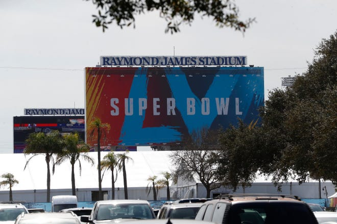 A general view of signage on Jan 31, 2021 for Super Bowl LV at Raymond James Stadium in Tampa.