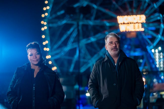 "Queen Latifah as Robyn McCall and Chris Noth as William Bishop in ""The Equalizer."""