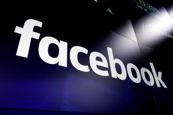 Facebook logo in 2018 in New York City.