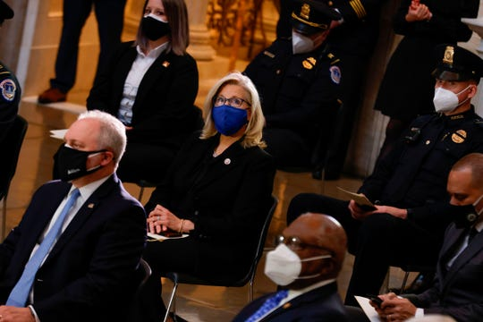 Rep. Liz Cheney (R-WY)  attends the Congressional ceremony for US Capitol Police officer Brian Sicknick as he lays in honor in the Rotunda of the US Capitol building on February 3, 2021, in Washington, DC.