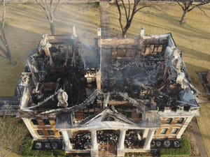 Drone footage from the State Fire Marshal's Office shows the results of a devastating fire Thursday night at the Mason County Courthouse.