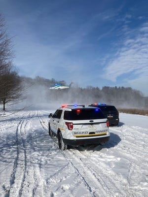 The Medina County Park District rangers arrive on the scene of an ice rescue Thursday, Feb. 4