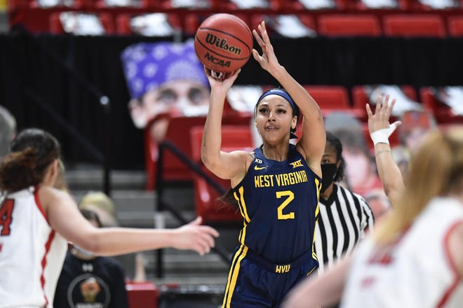 West Virginia's Kysre Gondrezick is averaging 21.6 points per game. If the season ended today, that would rank as the second-best average in school history..