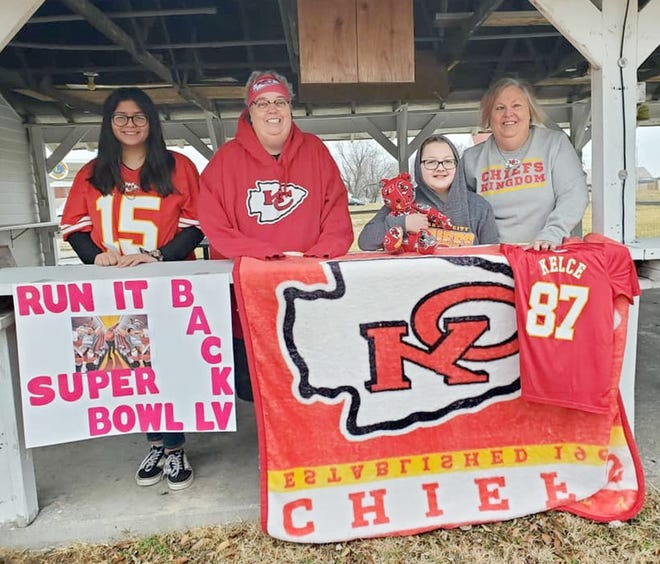 Prairie Home is gearing for Super Bowl LV and these diehard fans let their spirit show. Left to right: Alyssa Cargile, Tammy Rhodes, Parker Gerdt, Connie Gerdt