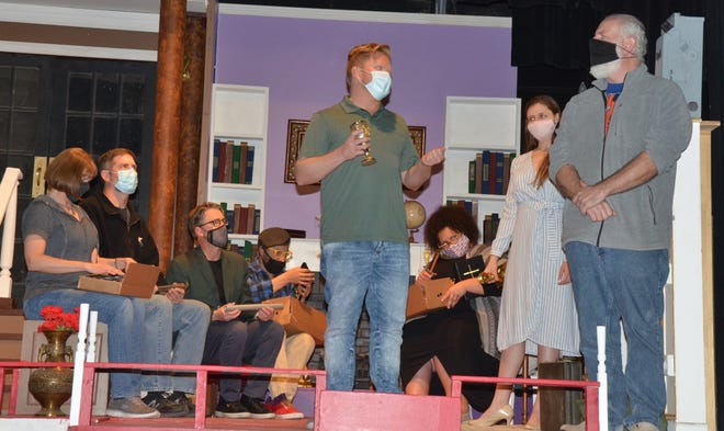 """Rehearsals — minus costumes but with face coverings — continue for """"Clue,"""" the murder mystery stage play being presented at Brownwood's Lyric Theatre."""