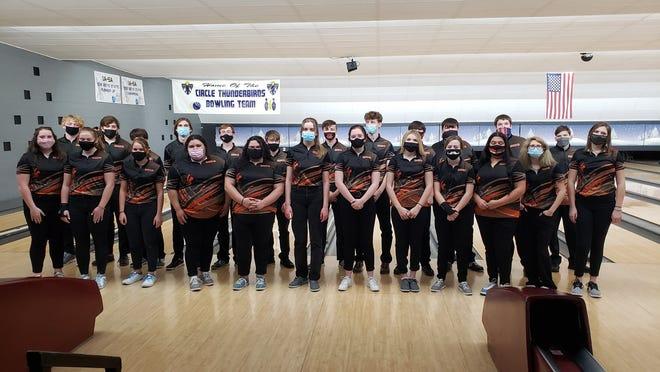 The Augusta Orioles Bowling team at their first meet of the season against El Dorado.