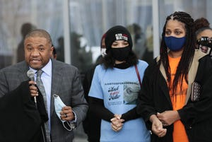 Attorney Michael Wright, left, along with Karissa Hill, center, daughter of Andre Hill, and Shawna Barnett, right, sister of Andre Hill, spoke in February following a court hearing for former Columbus police officer Adam Coy, who is charged with murder in the December 2020 death of Andre Hill. Barnett says the family has sacrificed their privacy in the hopes of effecting lasting change when it comes to police reform.