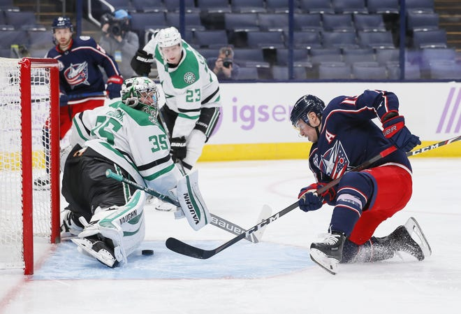 Blue Jackets forward Cam Atkinson (13) scored his 200th career goal, and eventual game-winner, on Thursday on a play he and his linemates came up with on the fly.