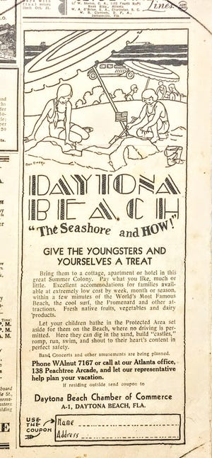 """An ad for Daytona Beach in 1930 sells the beach to families by touting the """"protected area set aside for them at the beach where no driving is permitted."""""""