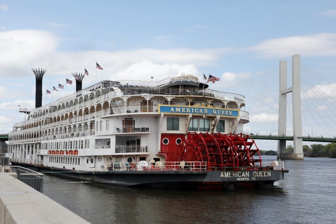 The American Queen Riverboat Cruise ship is docked Aug. 16, 2019, near the Port of Burlington on the Mississippi riverfront.