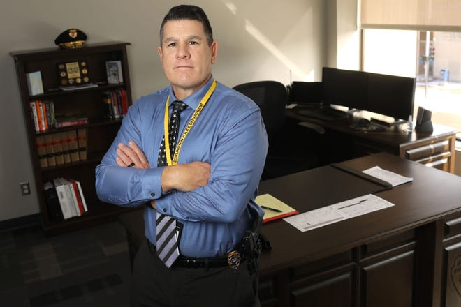 Burlington Police Chief Marc Denney is shown Friday in his office at the downtown Burlington Police Department.
