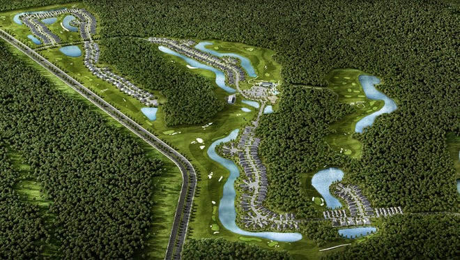 A rendition of an aerial view of the Stillwater Golf Club in northern St. Johns County, designed by Bobby Weed.