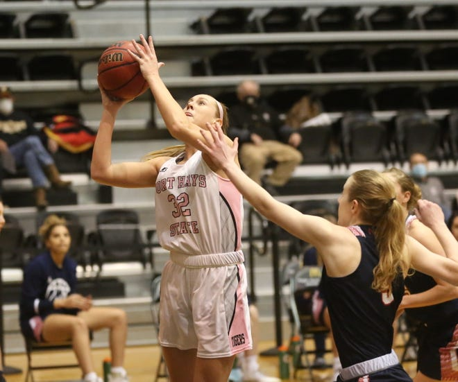 FHSU's Whitney Randall scores down low on Thursday against Newman.