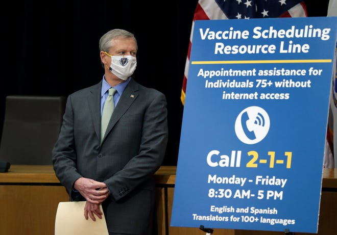 Gov. Charlie Baker, at his daily COVID-19 vaccination update at the State House inside Gardner Auditorium, unveiled a new call center to help seniors 75 years and older book Covid-19 vaccine appointments.   (Jonathan Wiggs/Globe Staff)