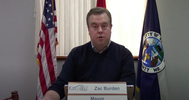 A screenshot of Kirksville Mayor Zac Burden giving his State of the City address for 2021.