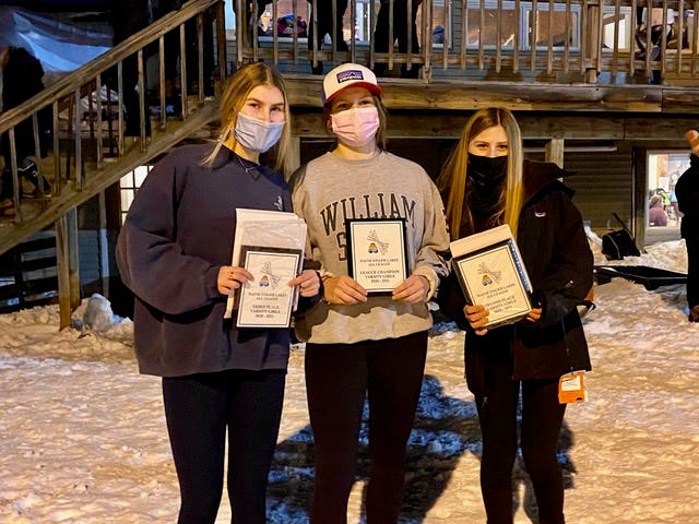 From the left, Grace Uhlen, Mack Louthan-Green and Anna Quarterman of Naples were named to the top three spots for the Wayne-Finger Lakes Alpine League.