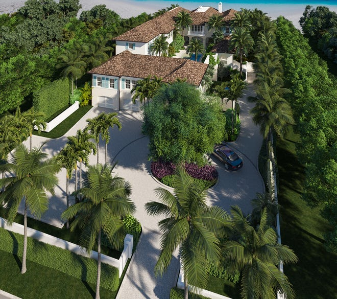 A bird's-eye rendering looking toward the Atlantic Ocean shows a beachfront mansion that has won approval from the Palm Beach Architectural Commission for 1063 N. Ocean Blvd. The property is owed by an entity linked to the billionaire Lauder family of the Estée Lauder cosmetics-and-fashion empire.