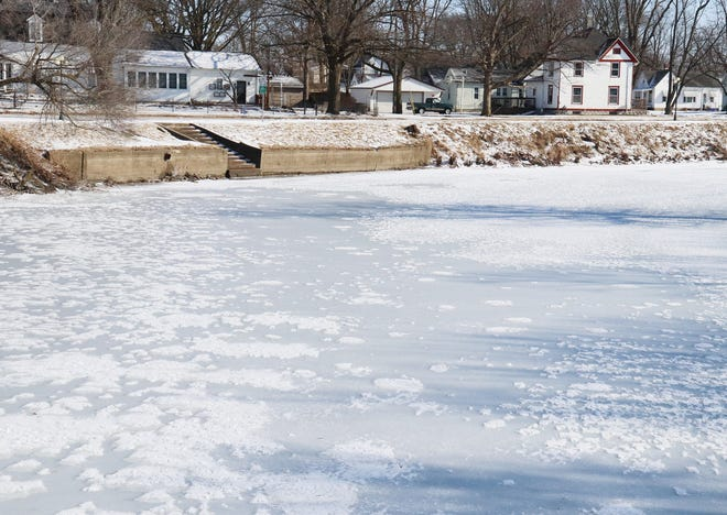 It has gotten cold enough in Pontiac that the Vermilion River has frozen over. The expected temperatures over the weekend should create a thicker ice on the river.