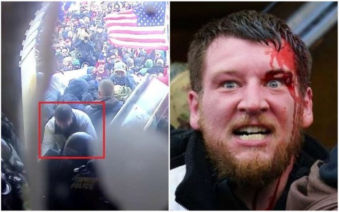 Prosecutors say these photos show Kyle Fitzsimons, 37, of Lebanon, Maine, participating in a riot Jan. 6 at the U.S. Capitol. Fitzsimons was arrested without incident Feb. 4.
