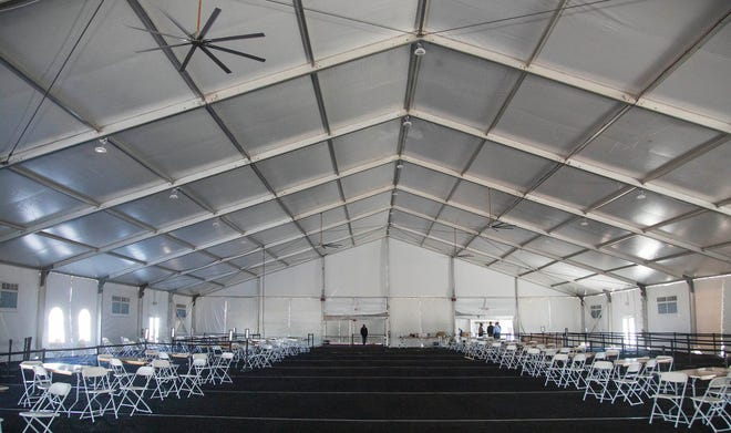 A vaccination center being set up Friday at the South Florida Fairgrounds in suburban West Palm Beach.