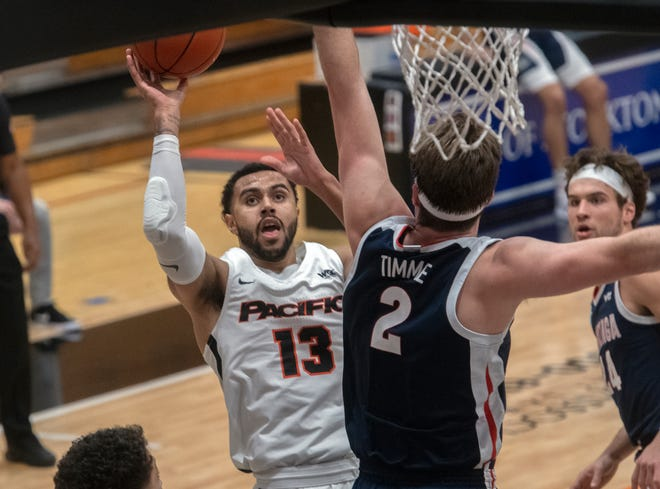 Pacific's Jeremiah Bailey, left, shoots against Gonzaga's Drew Timme during a WCC men's basketball game at Pacific's Spanos Center in Stockton.