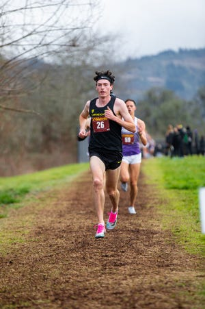 Oregon's Jackson Mestler races to victory during the Oregon XC Open at Lane Community College on Friday. (Matt Parker/UO track and field)