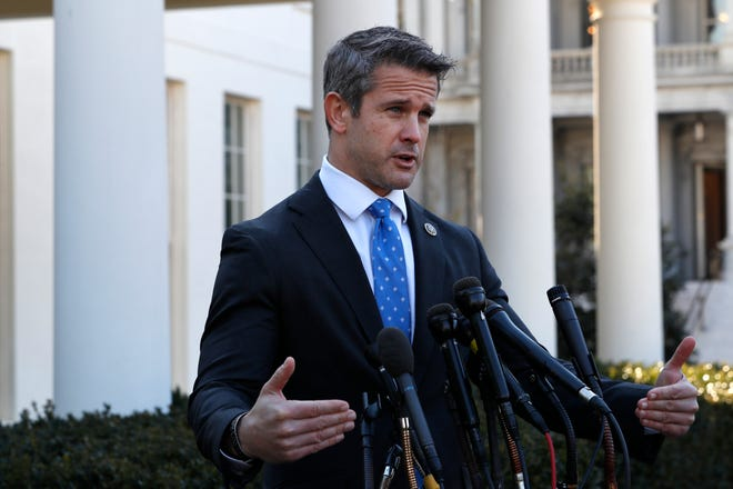 Rep. Adam Kinzinger, R-Illinois, speaks to the media in 2019, at the White House. A second Illinois county Republican party has voted to censure the congressman for his vote to impeach former president Donald Trump.