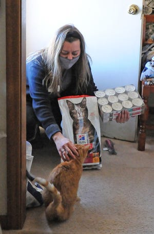 Volunteer Trinket Kinderkancht pets a cat named Toby the Terrible while bring cat food to Dee Davis, of Salina, as part of the new Meals on Wheels for pets program on Friday.