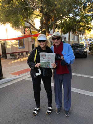 Mary Ann and Stuart Kaufman in Cocoa Village with masks. Chilly windy day while visiting family.