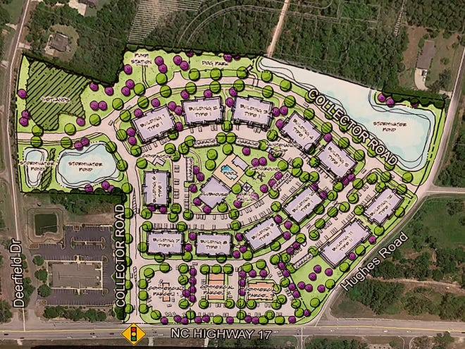 A plan of the proposed apartment complex in the Hampstead area taken at a public meeting in Hampstead on Thursday, Feb. 5.