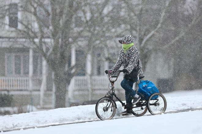 A woman wearing a snow leopard print jacket, makes her way down Clasky Common Park in New Bedford, as snow starts falling across the region.