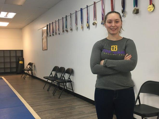 Brooklyn resident and judo champion Skyler Cummings, 19, at her Plainfield dojo, Top Game Martial Arts.