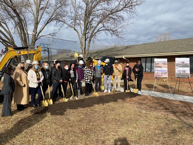 TFI Family Services broke ground Friday morning on a new gymnasium that will be built at Pathway Family Services, an agency of TFI.