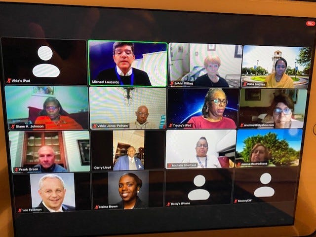 About 35 people attended the Black on Black Crime Task Force meeting held Feb. 3 via Zoom. From left, top row,  UF Health physician Dr. Michael Lauzardo, M.D. gave tons of information about Covid-19 including the downward trend in U.S. cases,  vaccines, treatments,  distribution and other information.
