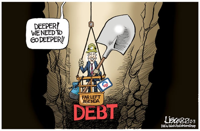 Saturday Cartoon: Digging the debt hole deeper. Lisa Benson.