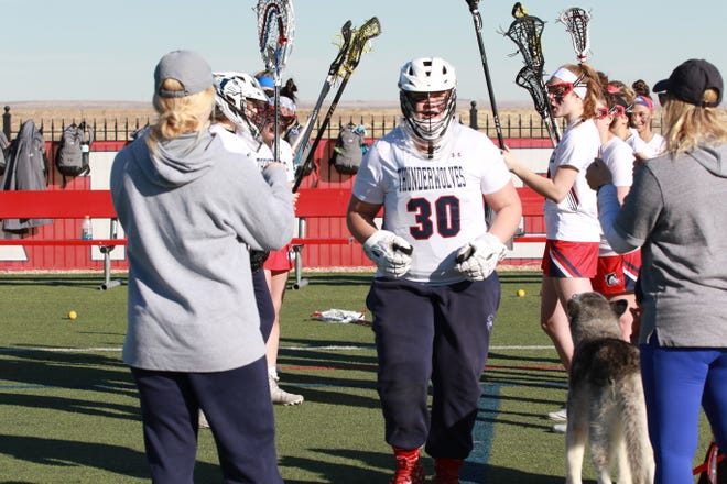Ane Marie Horton of the CSU Pueblo women's lacrosse team gets ready for a game in 2020 before the COVID-19 pandemic canceled the season. Horton is returning for another year with the ThunderWolves