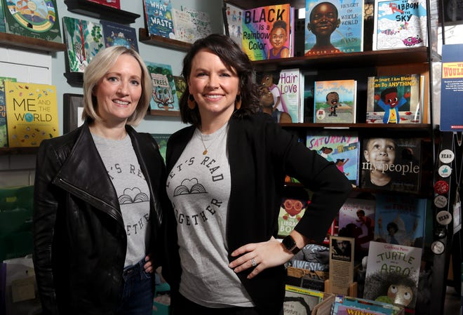 Harper's Corner Foundation president Julia Hanna (left) and vice president Kat DePizzo, pictured Feb. 1 at the Cover to Cover bookstore in Upper Arlington, cofounded the nonprofit organization to help educate and build awareness around diversity and inclusion through providing elementary school libraries with book sections on the subject matter. Cover To Cover bookstore is partnering with the foundation.